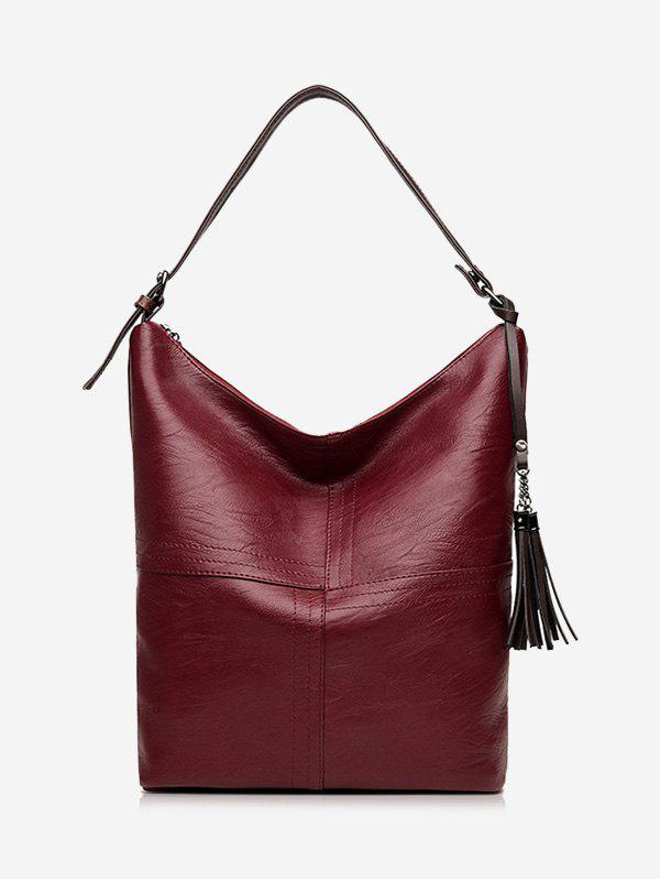 Faux Leather Tassels Shoulder Bag - WINE RED