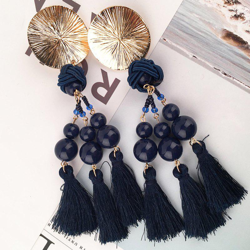 Disc Knot Beaded Tassel Ethnic Drop Earrings - BLUE