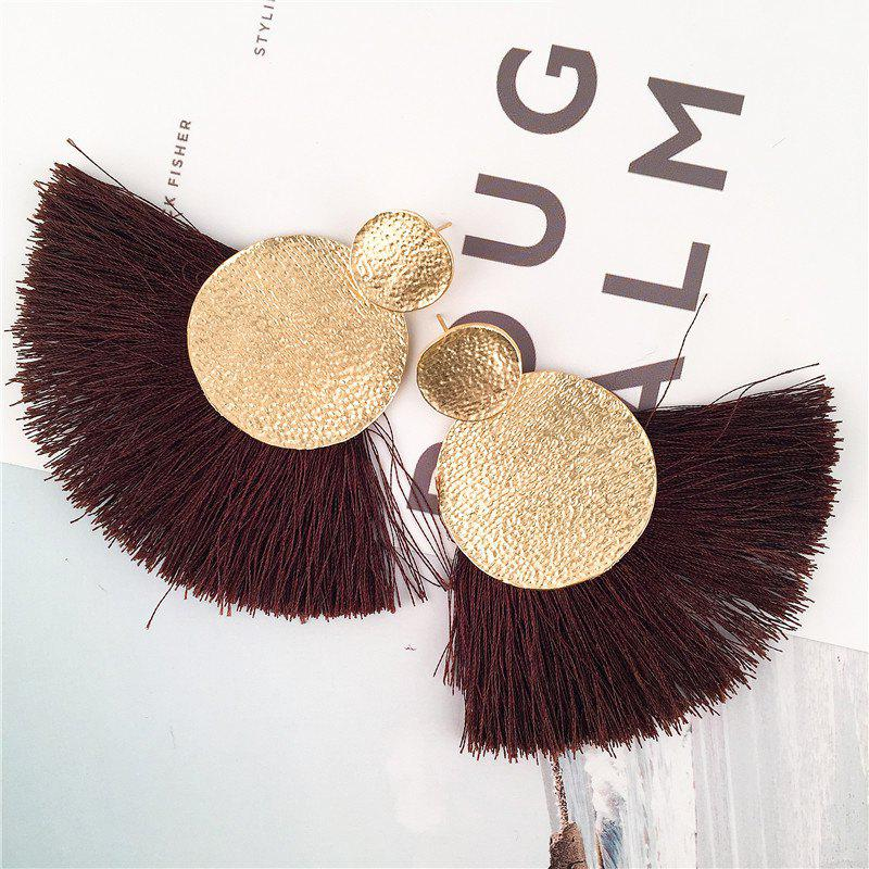 Hammered Disc Tassel Drop Earrings - COFFEE