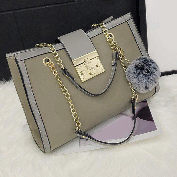 Faux Leather Chain Shoulder Bag With Pompom - GRAY
