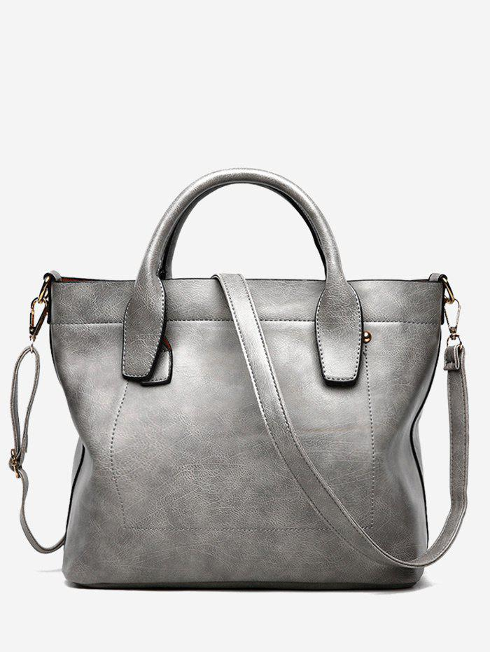 Faux Leather Double Handle Stitching Handbag - GRAY