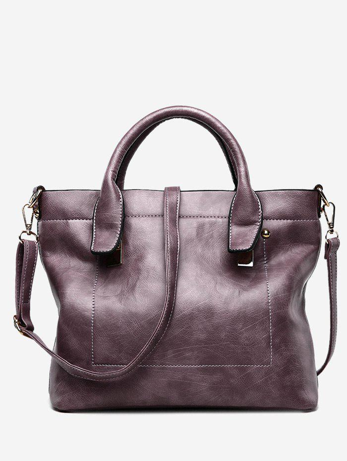 Faux Leather Double Handle Stitching Handbag - PURPLE