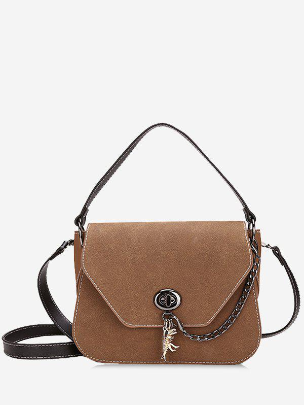 Stitching Faux Leather Handbag With Strap - DEEP BROWN