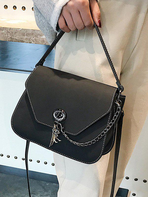 Stitching Faux Leather Handbag With Strap - BLACK