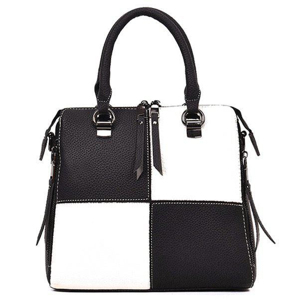 Top Zip Color Block Handbag - WHITE