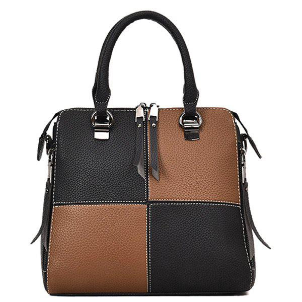 Top Zip Color Block Handbag - DEEP BROWN