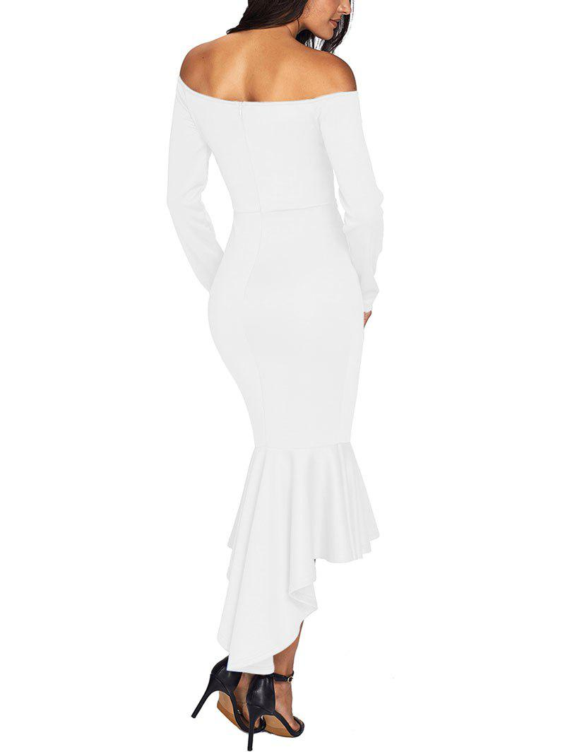 V Cut Off The Shoulder Mermaid Dress - WHITE XL