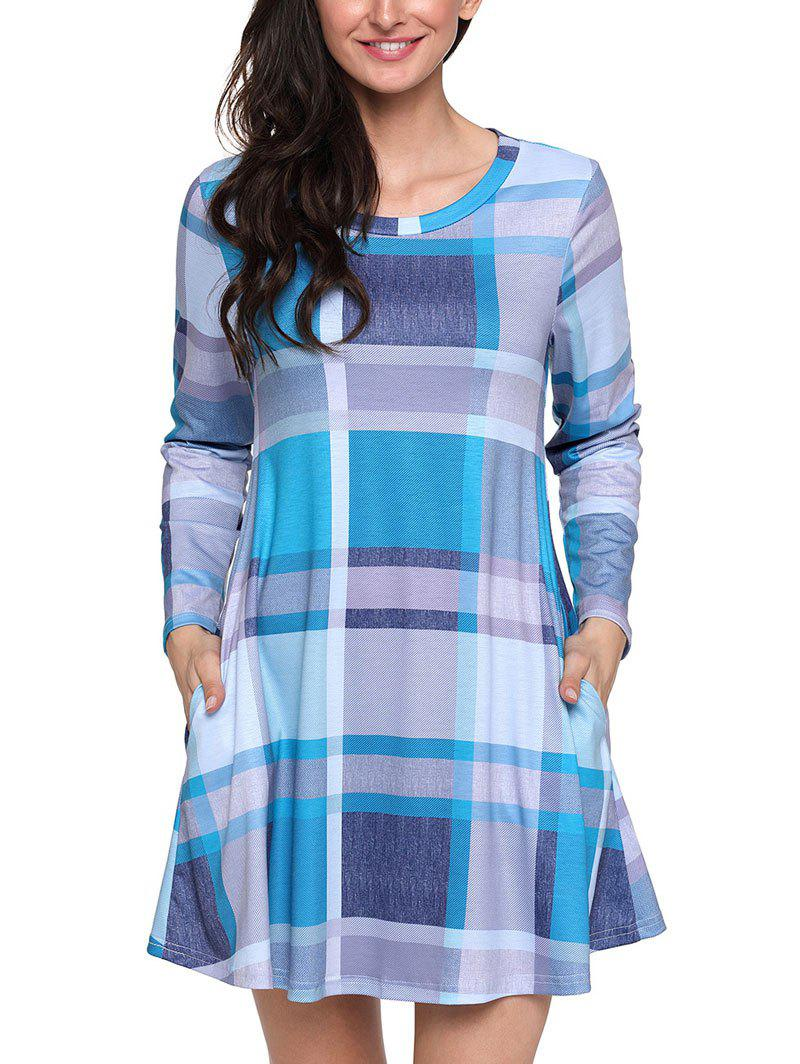 Long Sleeve Plaid A-line Dress - BLUE M