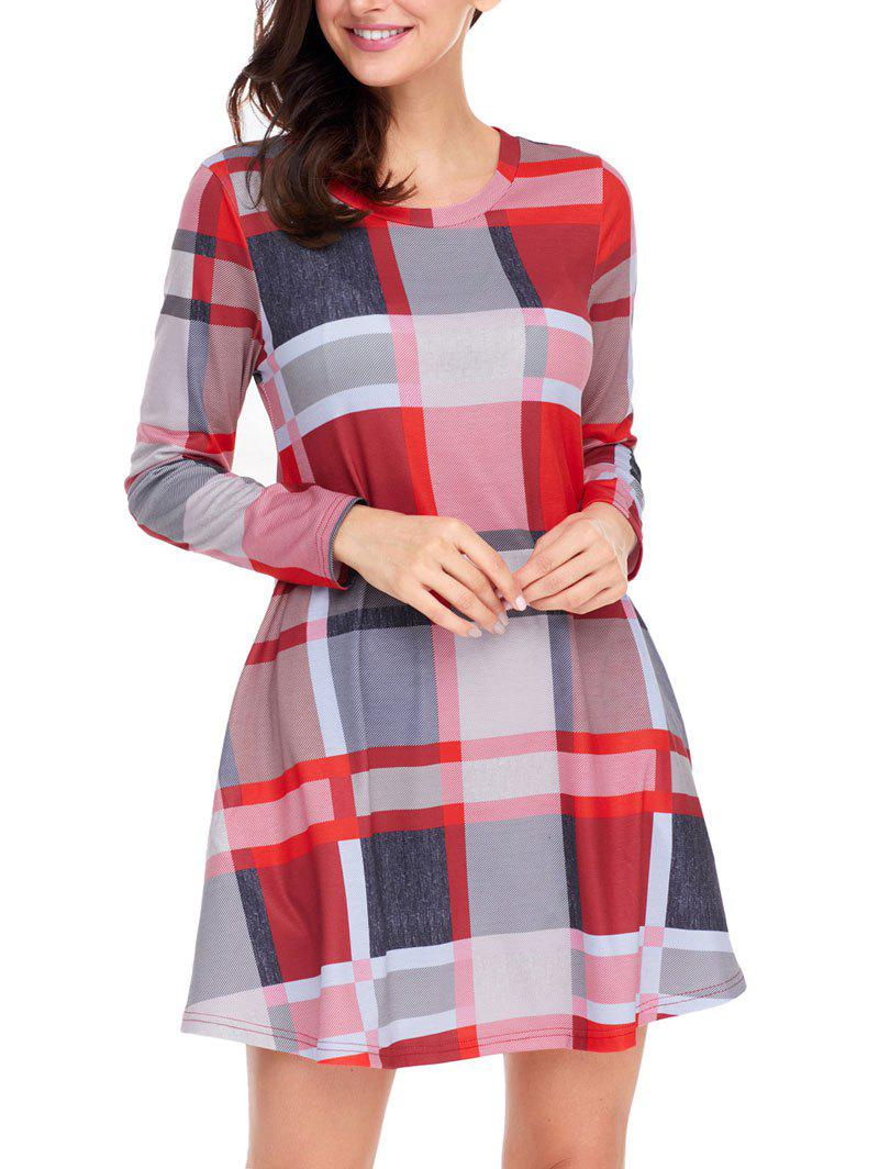Long Sleeve Plaid A-line Dress - COLORMIX M