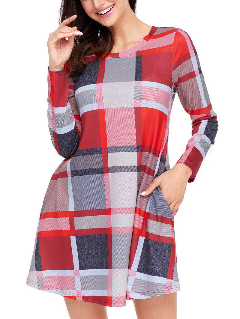 Long Sleeve Plaid A-line Dress - COLORMIX 2XL
