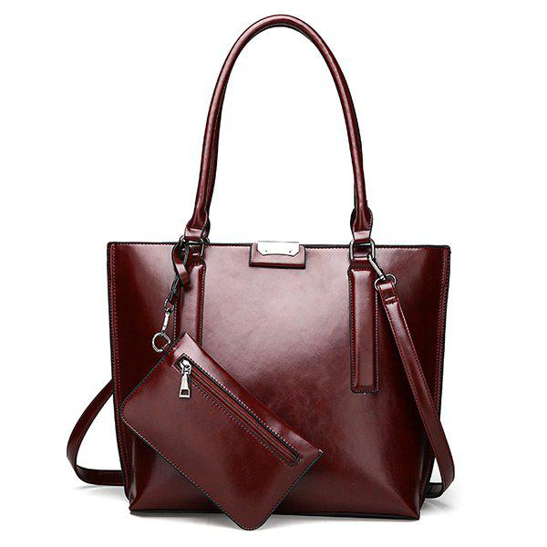 Faux Leather Shoulder Bag with Wristlet - WINE RED