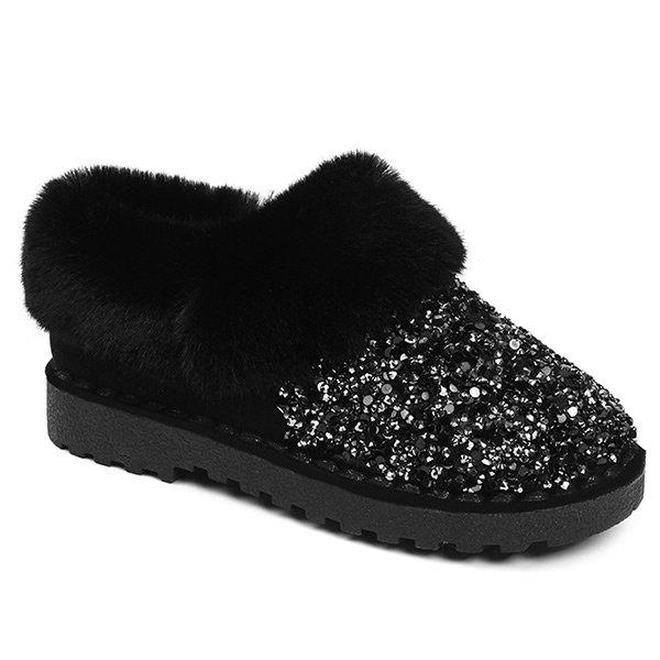 Fuzzy Collar Sequined Ankle Boots - BLACK 38