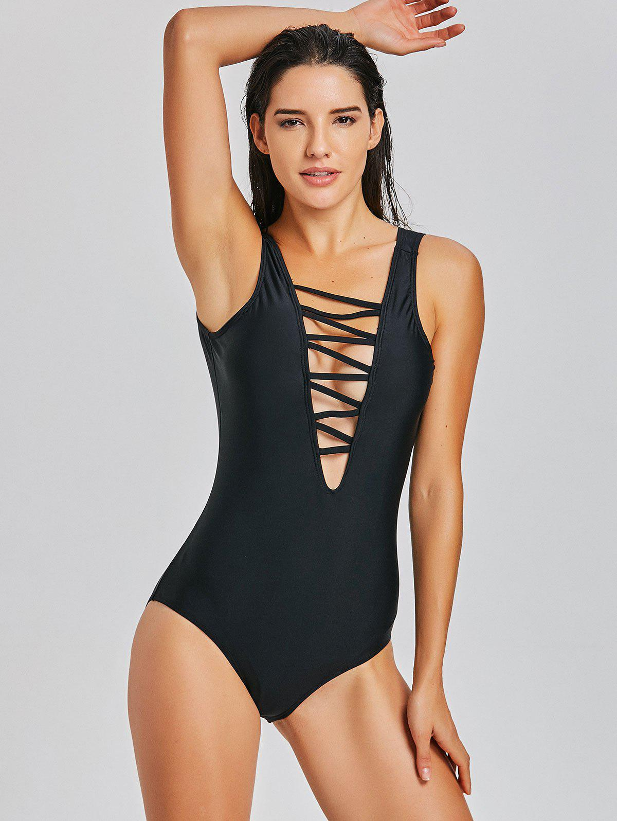 Lattice Front Padded One Piece Swimsuit - BLACK L