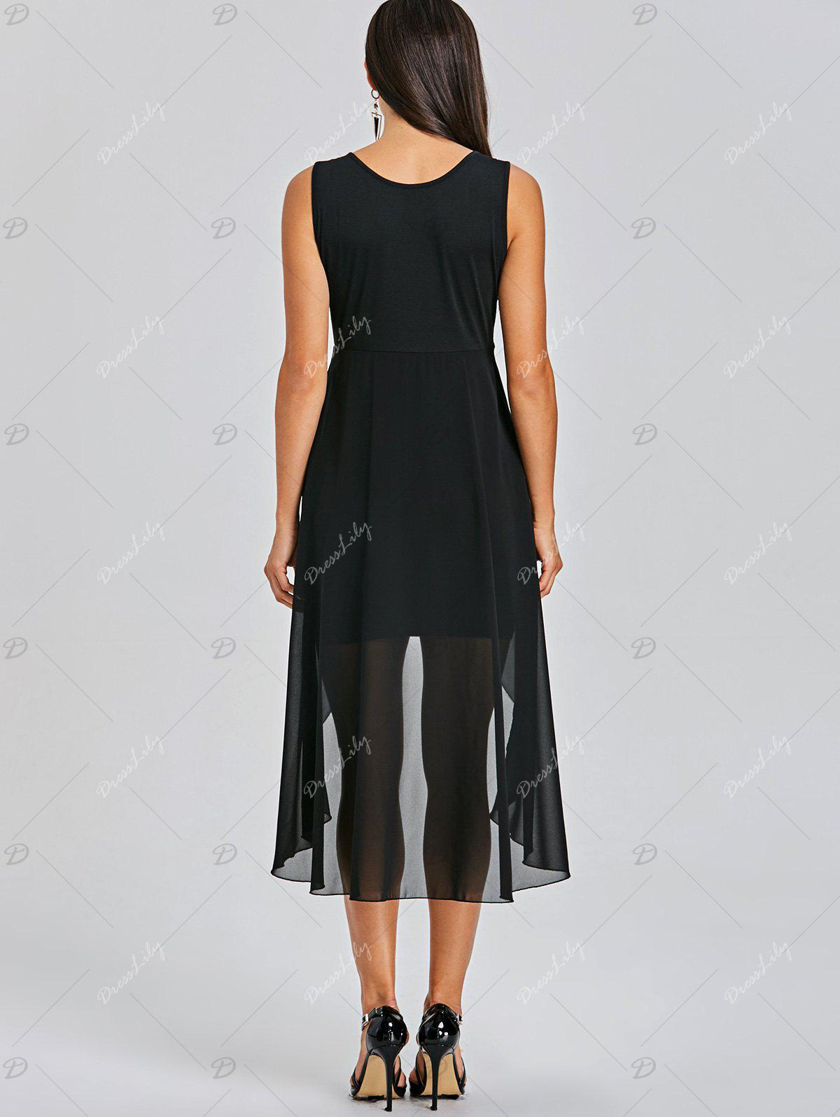 Sleeveless Fitted Dress with Overlay Skirt - BLACK 2XL