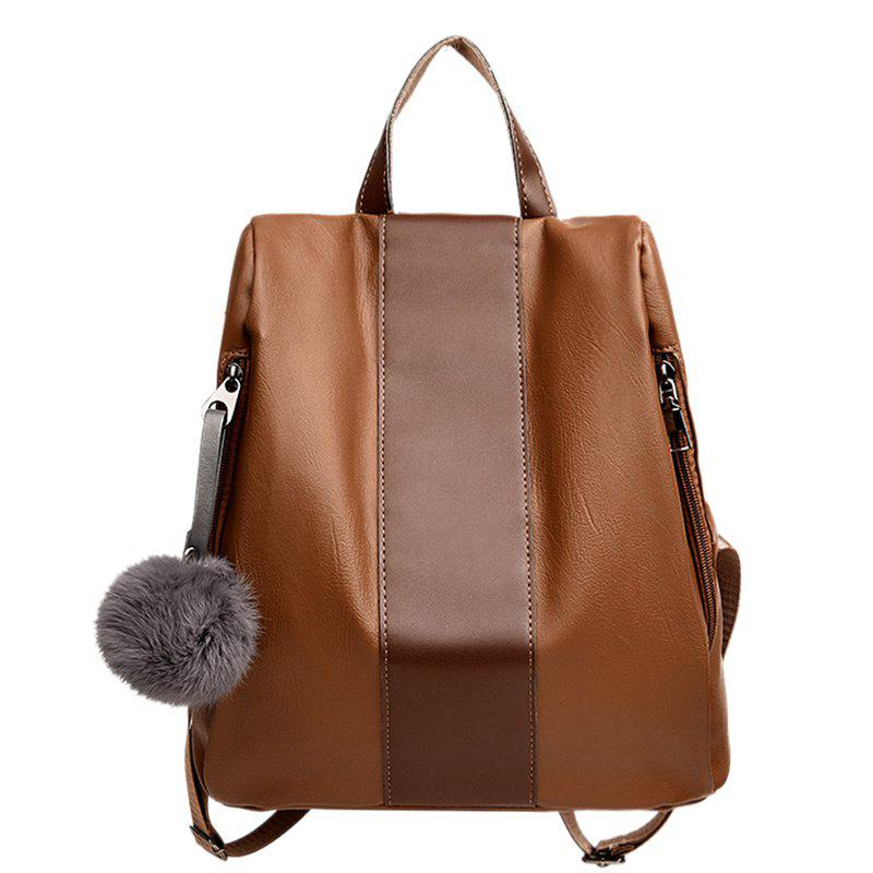 PU Leather Side Zip Backpack With Pompom - KHAKI