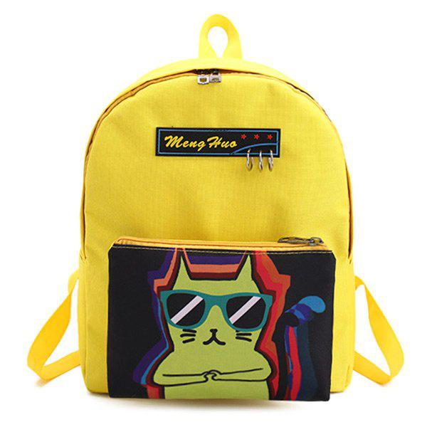 Cartoon Print 2 Pieces Detachable Backpack Set - YELLOW