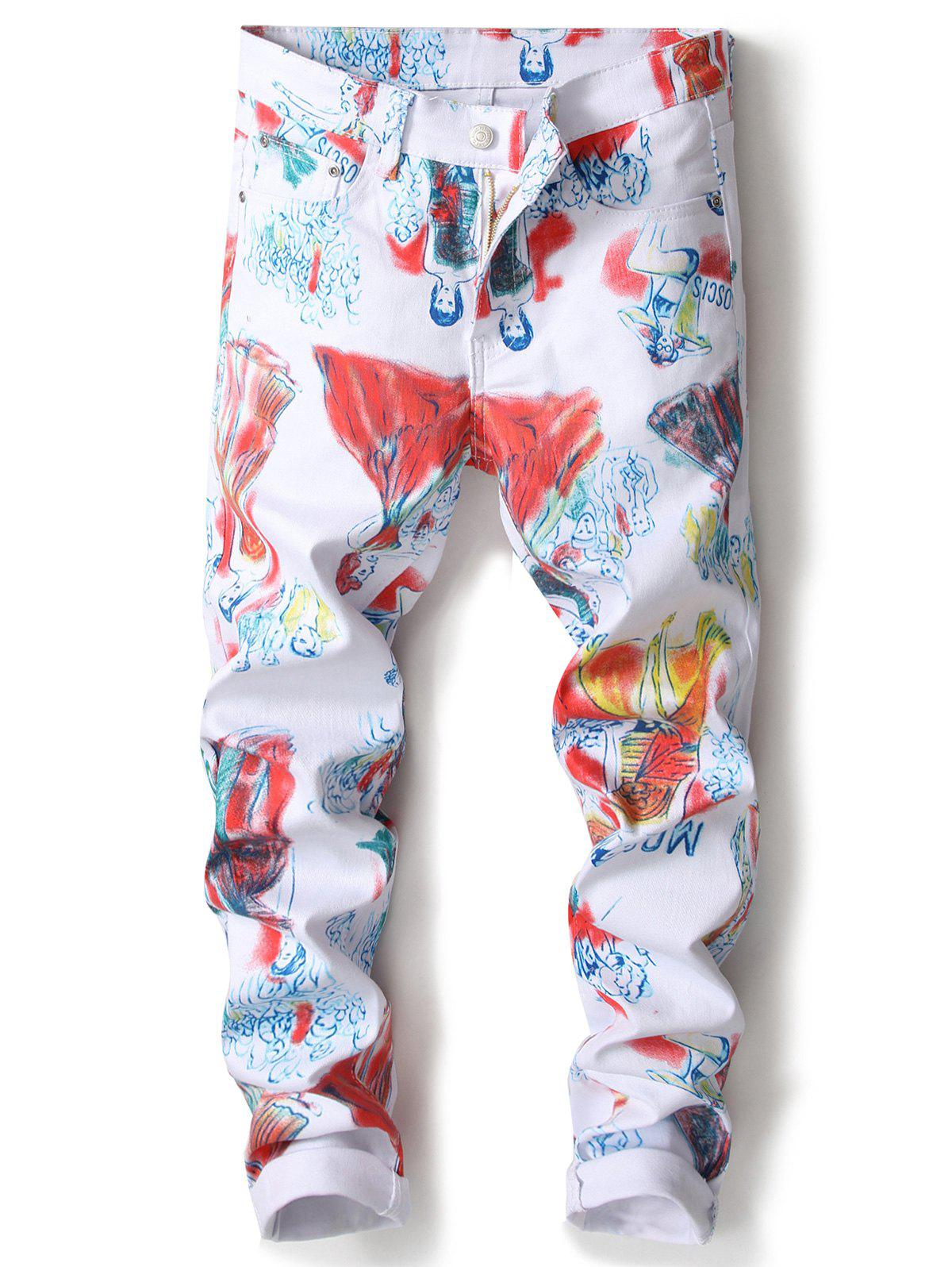 Cartoon Painting Print Straight Leg Jeans - COLORMIX 34