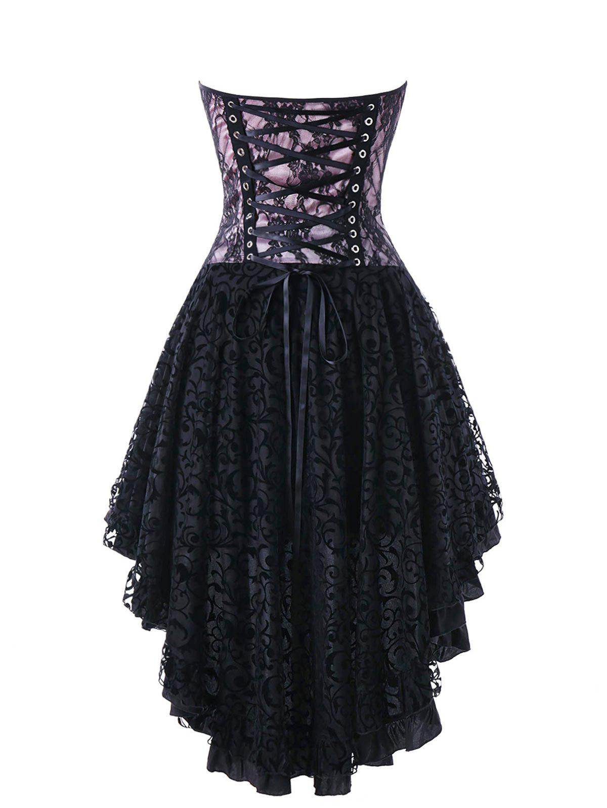 Lace Up Strapless High Low Hem Corset Dress - BLACK L