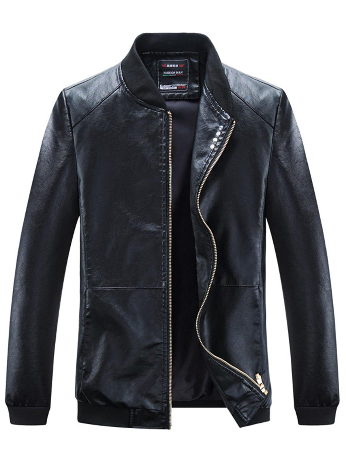 Zip Up Buttons Embellished PU Leather Jacket pu leather and corduroy spliced zip up down jacket
