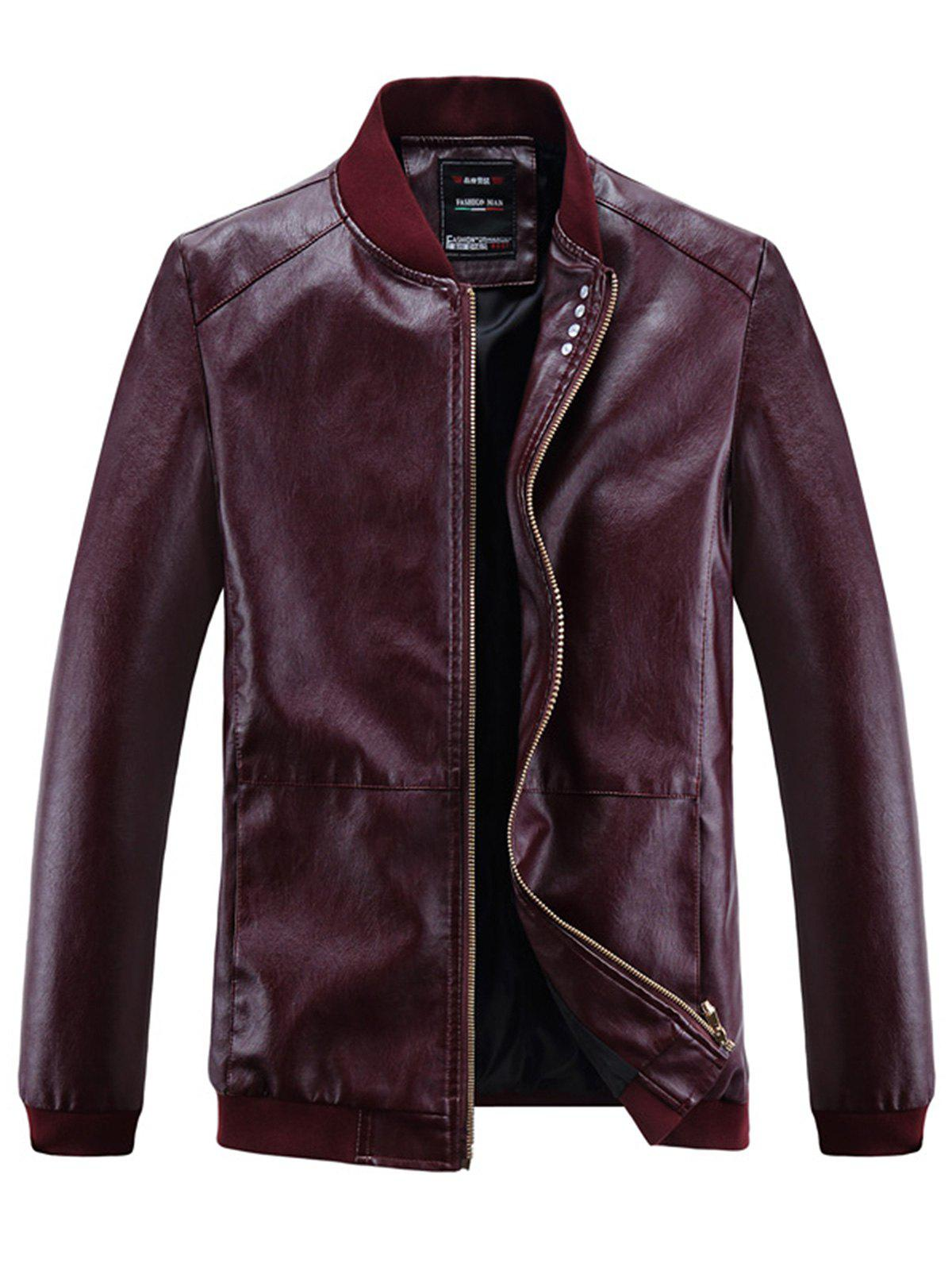 Zip Up Buttons Embellished PU Leather Jacket floral rivet embellished zip up pu leather jacket