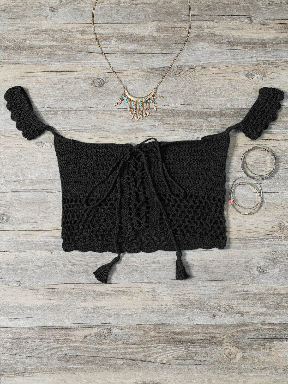 Knitting Lace-Up Off The Shoulder Bikini Bra - BLACK ONE SIZE