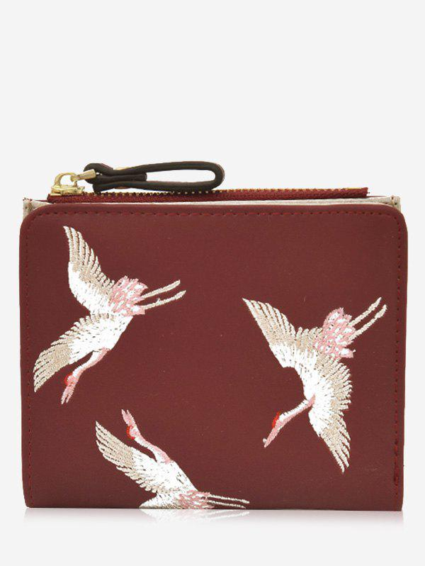 Birds Embroidery Bi Fold Wallet - RED