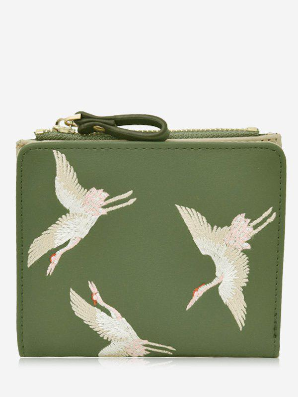 Birds Embroidery Bi Fold Wallet - GREEN