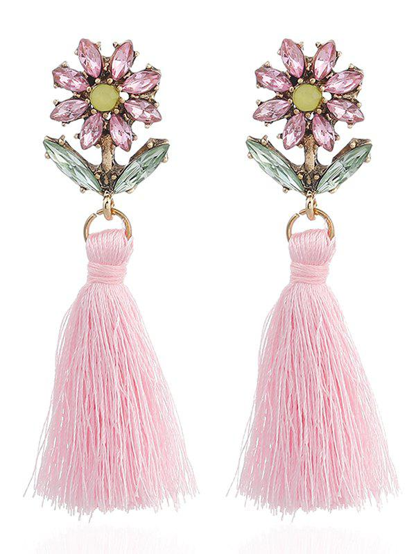 Bohemia Rhinestone Floral Shape Tassel Drop Earrings - PINK