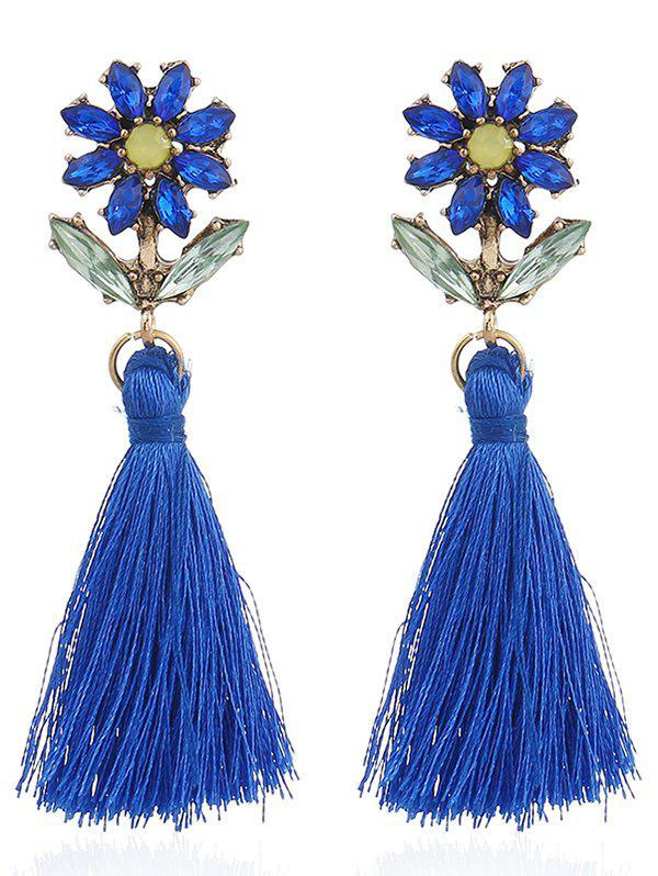 Bohemia Rhinestone Floral Shape Tassel Drop Earrings - BLUE