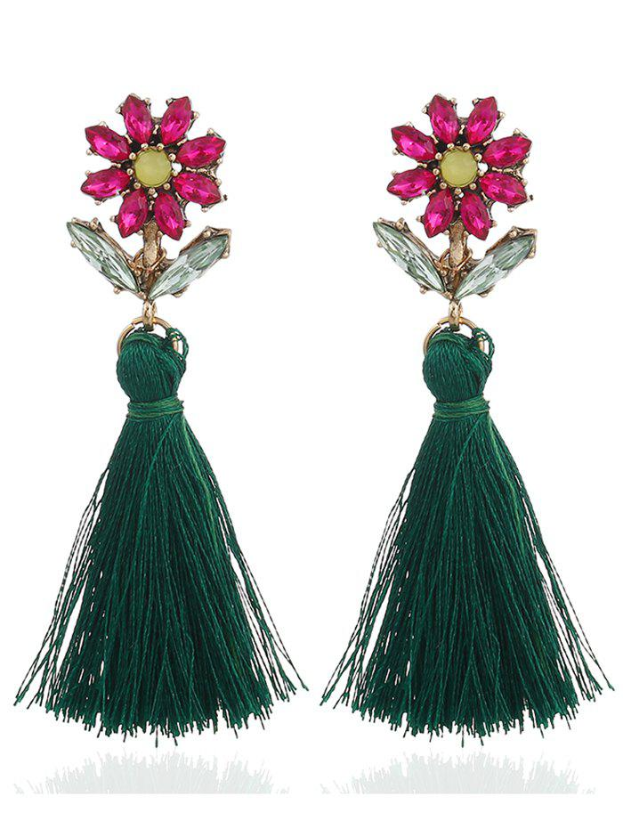 Bohemia Rhinestone Floral Shape Tassel Drop Earrings - GREEN