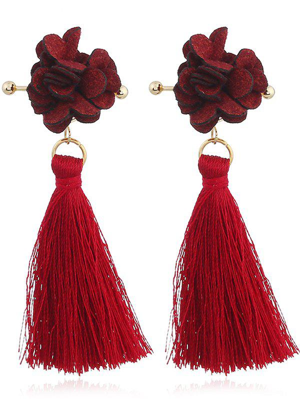 Floral Shape Thread Tassel Drop Earrings - RED