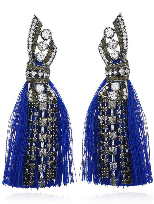Geometric Faux Diamond Tassel Tribal Drop Earrings - BLUE