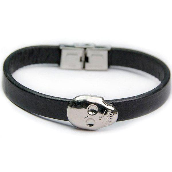 PU Leather Funny Skull Bracelet - BLACK
