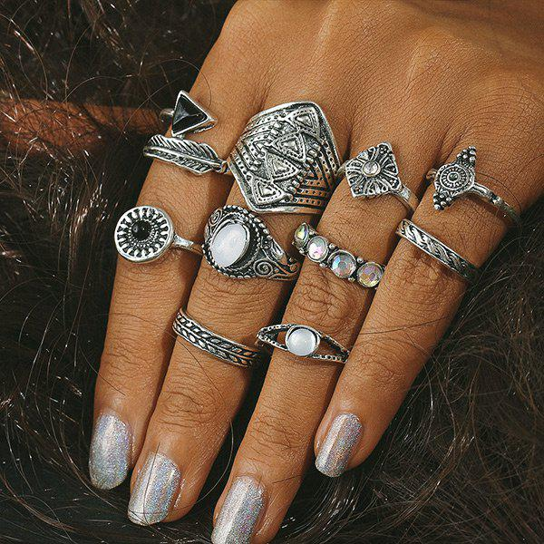 Artificial Gem Alloy Feather Finger Ring Set - SILVER