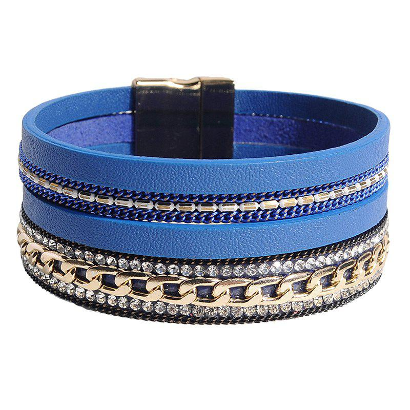 Rhinestoned Faux Leather Chain Multilayered Bracelet modern multilayered mixed colors box chain bracelet for women
