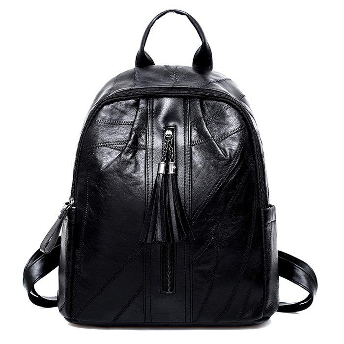 Tassel Stitching PU Leather Backpack - BLACK