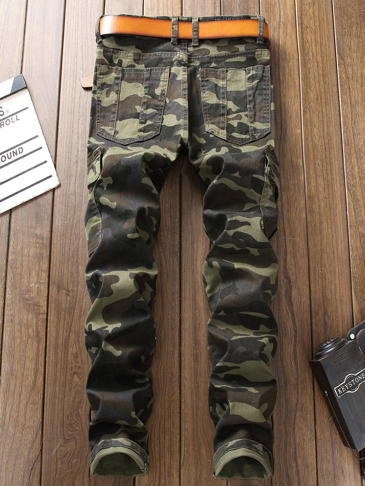 Zip Pockets Camouflage Cargo Pants - ARMY GREEN CAMOUFLAGE 32