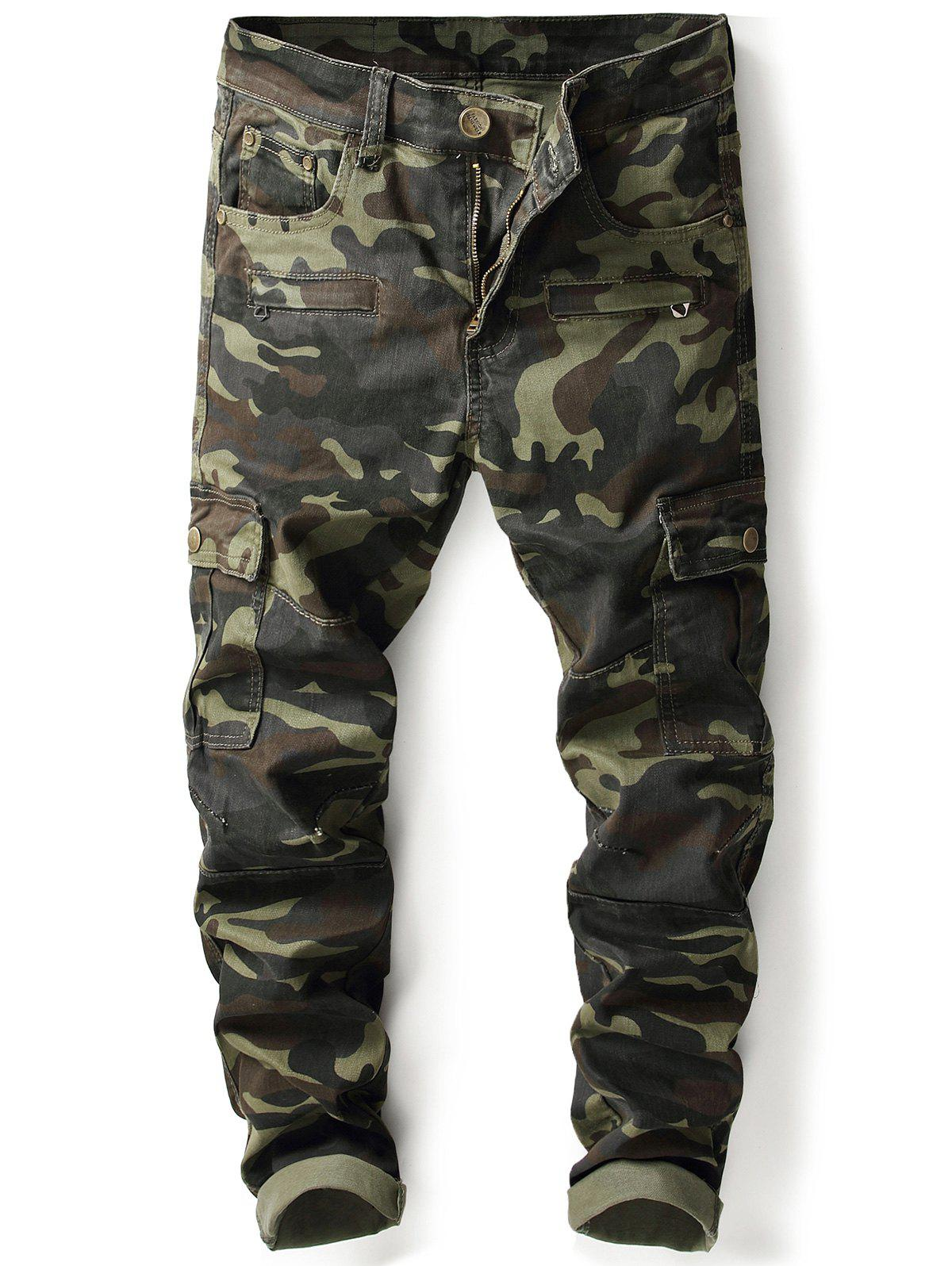 Zip Pockets Camouflage Cargo Pants - ARMY GREEN CAMOUFLAGE 38