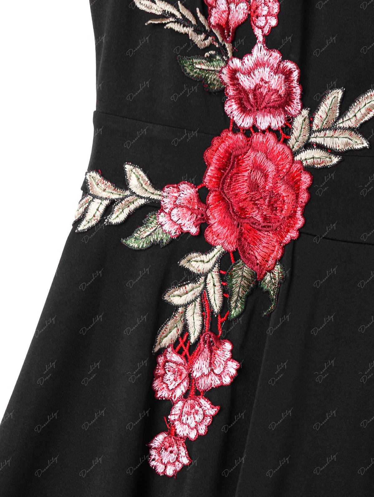 Embroidered Plunging Neck Swing Dress - BLACK L