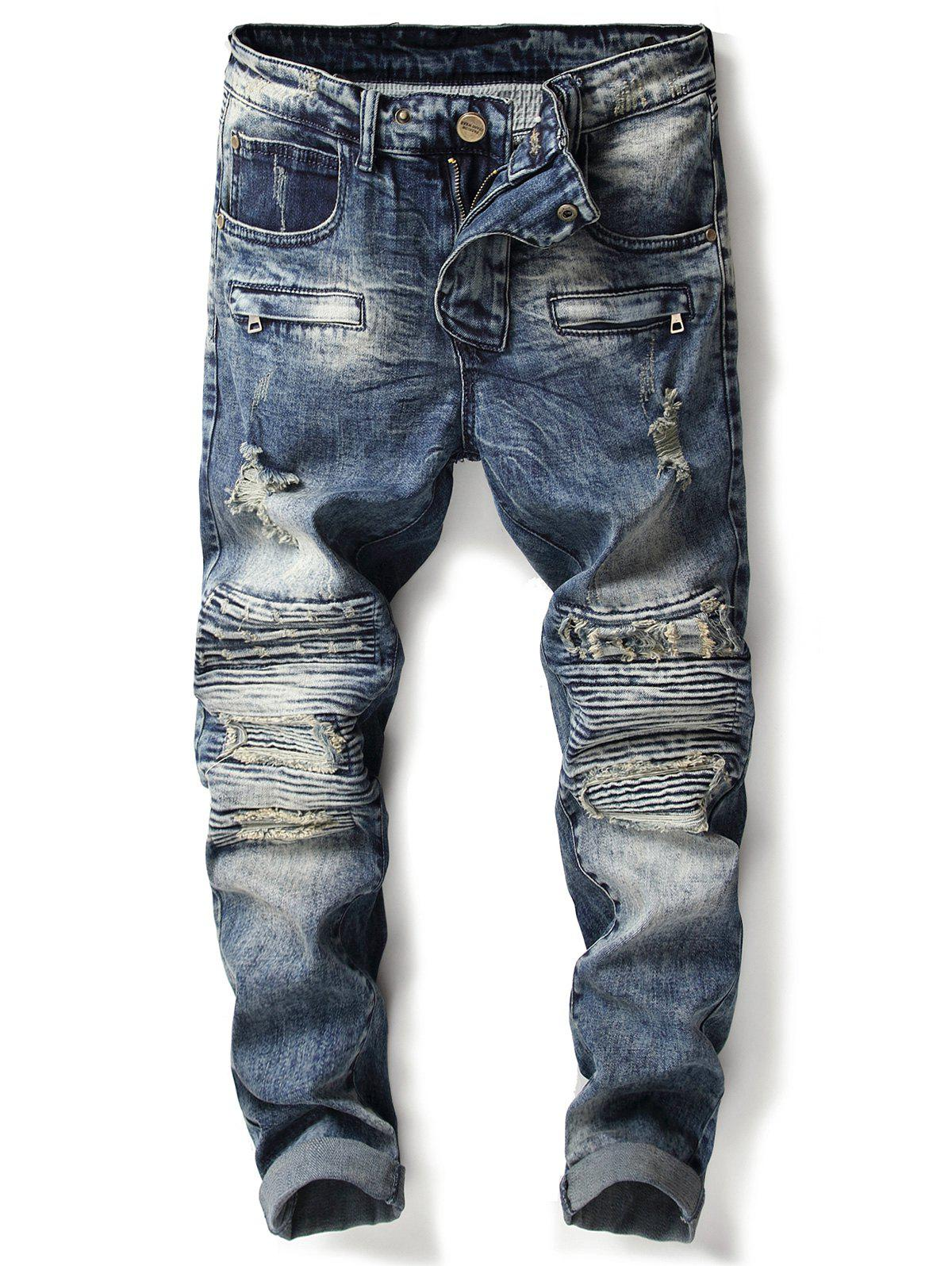 Accordion Pleat Zipper Ripped Jeans - DENIM BLUE 38