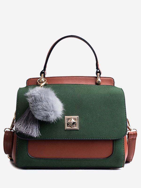 Tassels Twist-Lock Pom Pom Handbag - GREEN