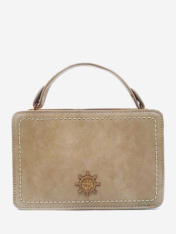 Metal Decorative Mini Crossbody Bag - BEIGE