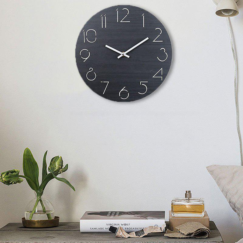 Wooden Round Analog Number Wall Clock - BLACK 30*30CM