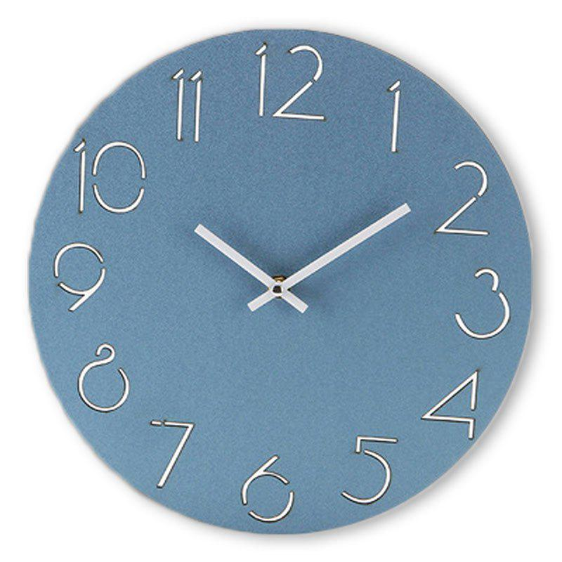 Wooden Round Analog Number Wall Clock - BLUE 30*30CM