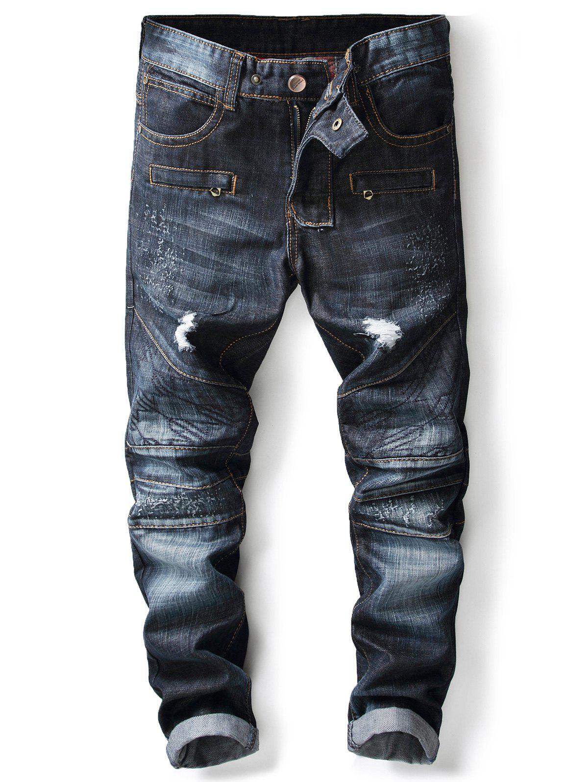 Panel Design Zipper Fly Ripped Jeans - DENIM BLUE 36