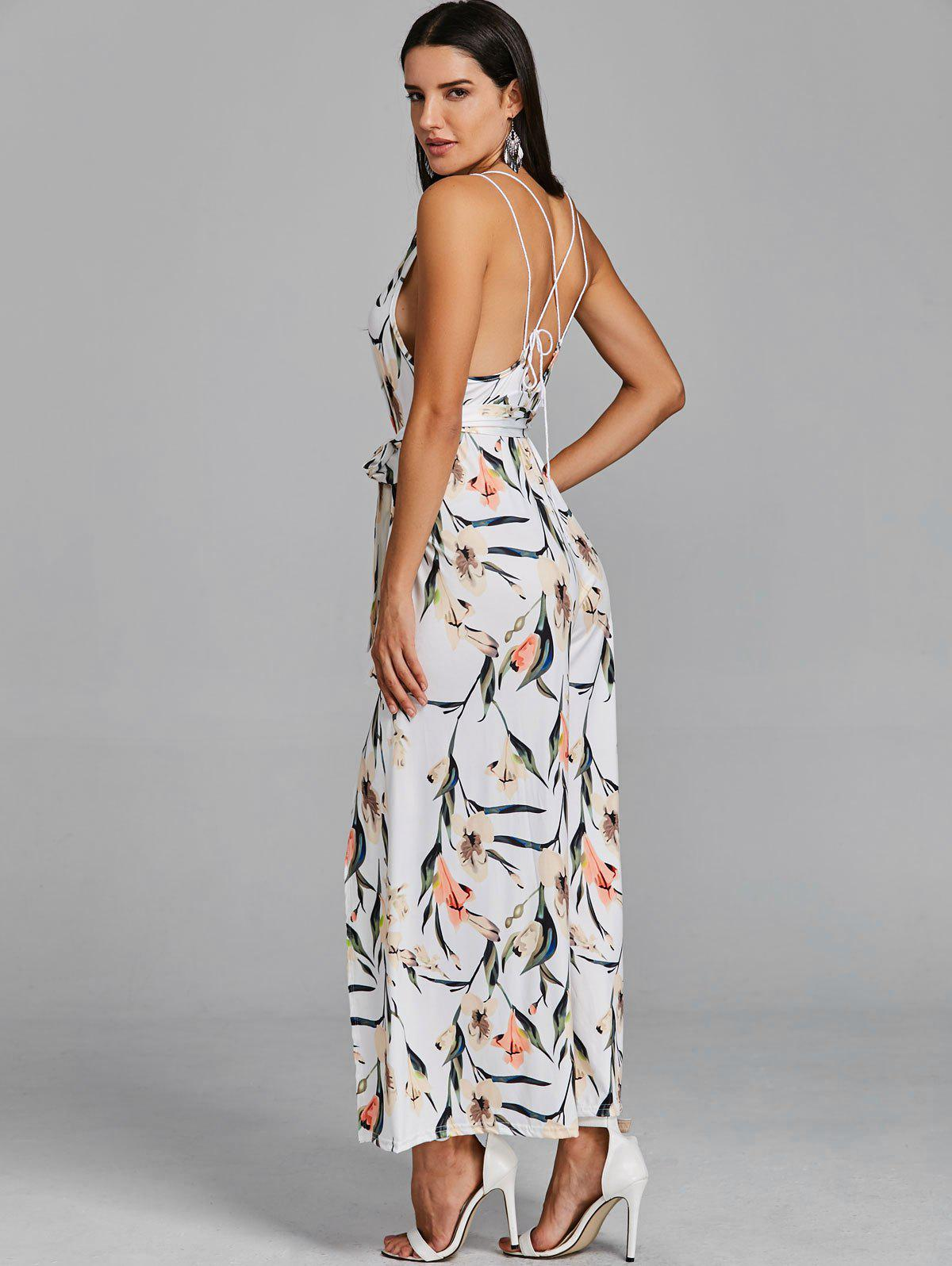 High Slit Floral Sleeveless Palazzo Jumpsuit - WHITE L
