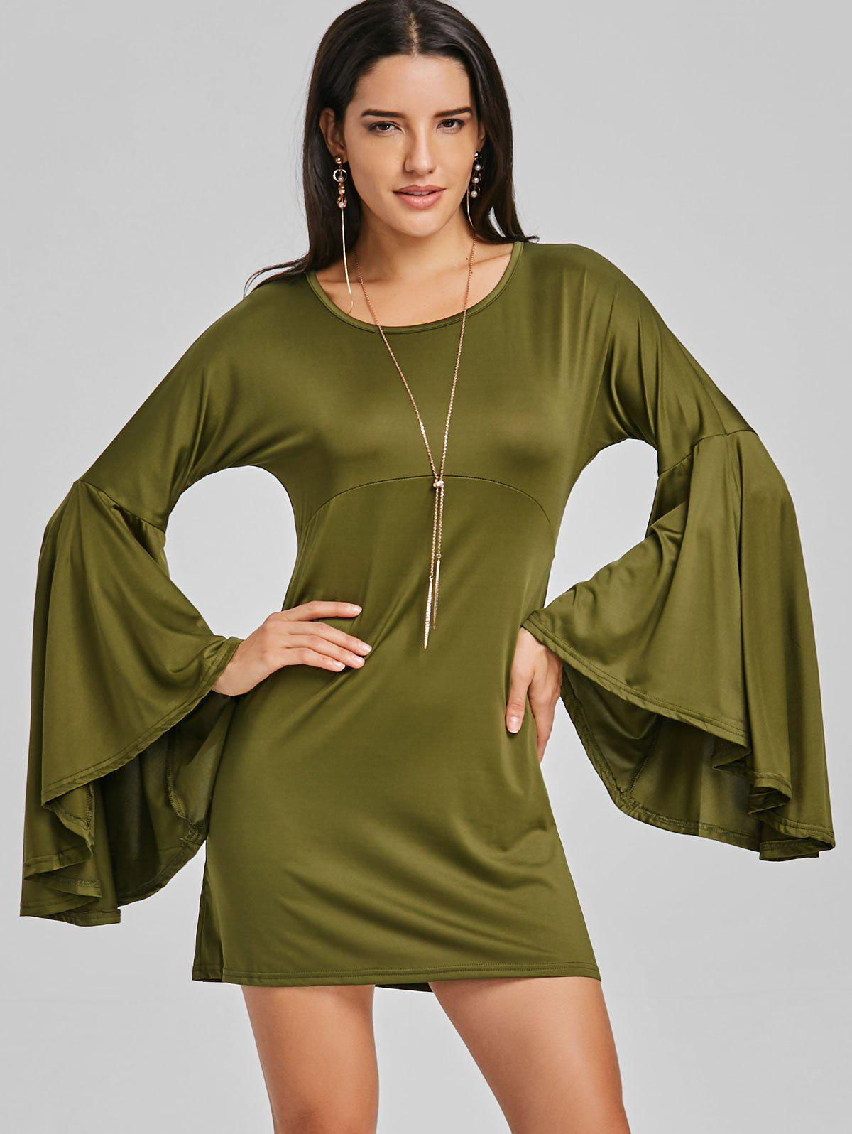 Bell Sleeve Mini Shift Dress - ARMY GREEN S