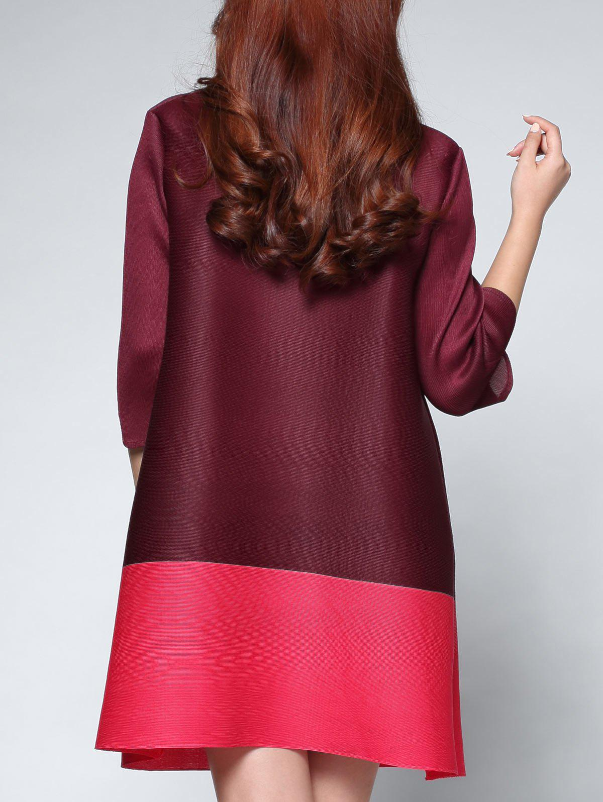 Two Tone Color  Chinese Button Dress - CLARET ONE SIZE