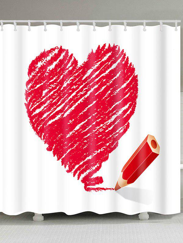 Waterproof Valentine's Day Heart and Pencil Printed Shower Curtain - RED W71 INCH * L79 INCH