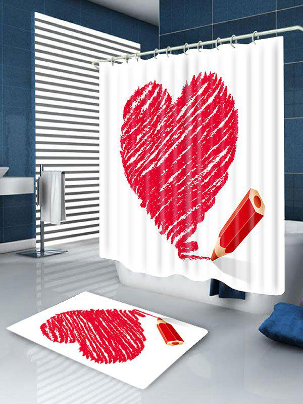 Waterproof Valentine's Day Heart and Pencil Printed Shower Curtain - RED W59 INCH * L71 INCH